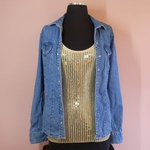 Topshop Denim Jean Shirt with Pearl Snaps